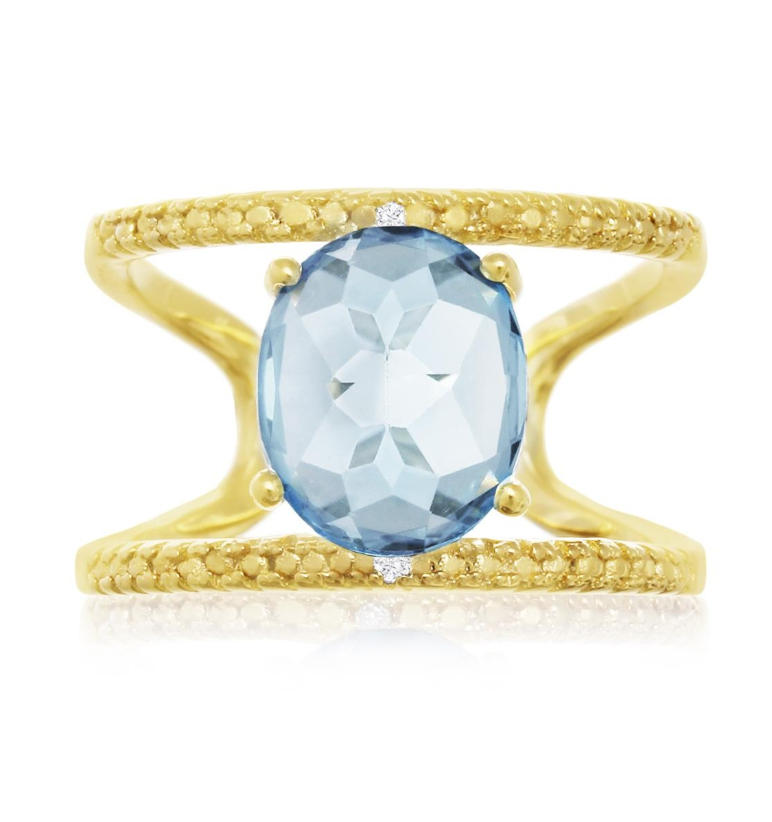 14 Karat Yellow Gold Over Sterling Silver 3.40 Carat Blue Topaz and Diamond Open Shank Ring