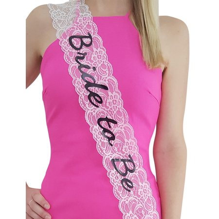 Bachelorette Sash, Bride to Be, Stylish Lace White Sash