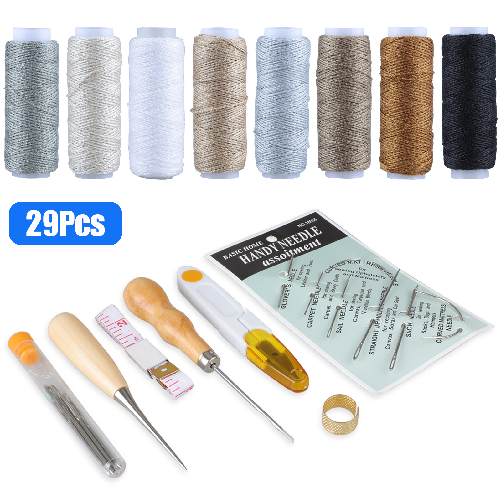 Leather Craft Repair Tool Kit Hand Sewing Needles Canvas Thread Needles Tape Measure Large-Eye Stitching Needles and Drilling Awls with Thread Spool Huggers Upholstery Repair Kit 33-Pack