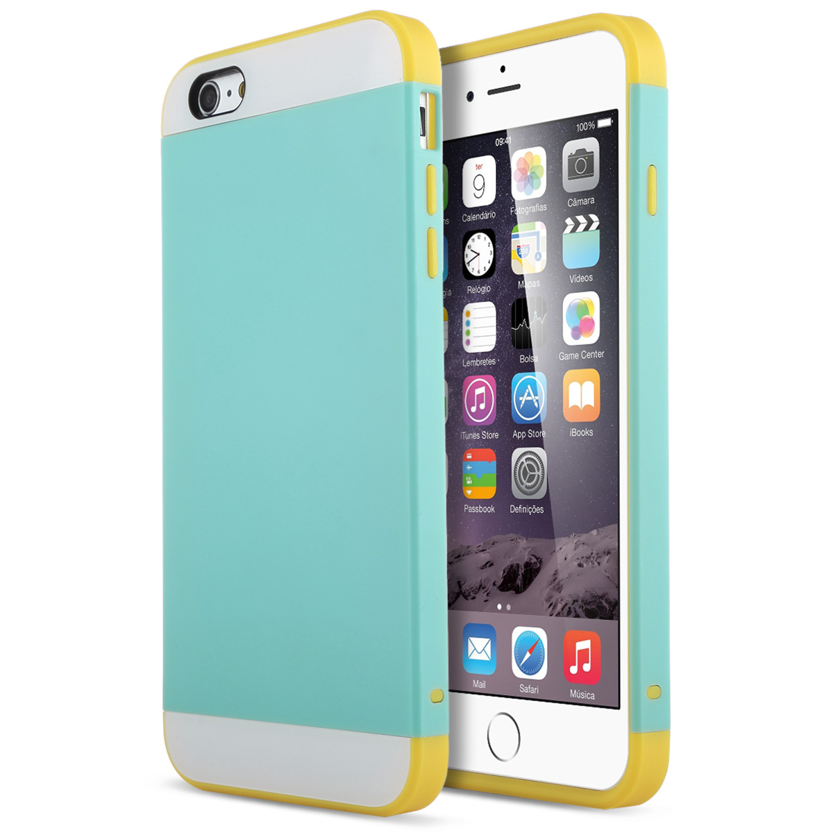 ULAK Hybrid Ultra Slim Protective Case for iPhone 6 Plus and iPhone 6s Plus (5.5 inch) Dual Layer Premium Cover with Card Storage (Light Blue/Yellow)