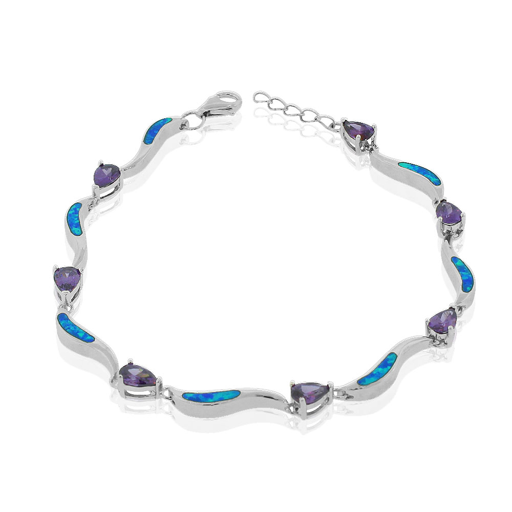"925 Sterling Silver Simulated Blue Opal Purple Amethyst-Tone Pear-Shape Cubic Zirconia Tennis Bracelet, 7"" by My Daily Styles"