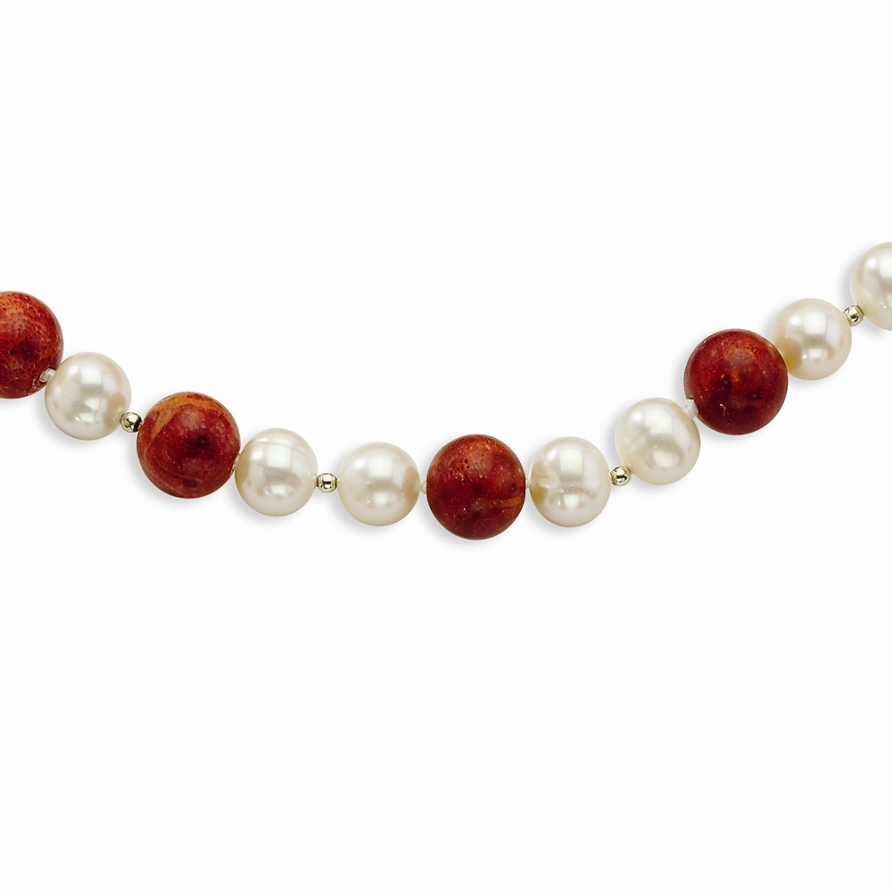 Sterling Silver 2-Freshwater Cultured Pearls & Red Coral Bracelet by Goldia