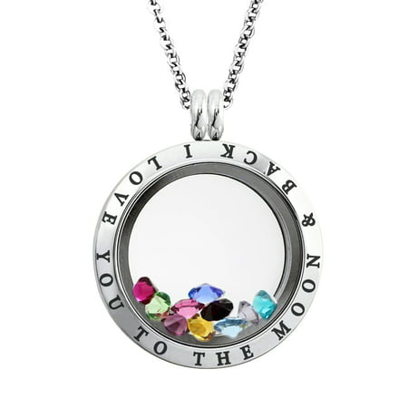 25 MM Stainless Steel I Love You to the Moon & Back Engraved Floating Glass Charm Locket Pendant Necklace
