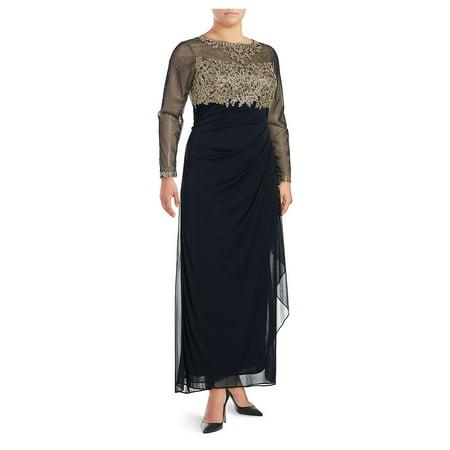 Plus Metallic Floral Floor-Length Gown - Medieval Clothing