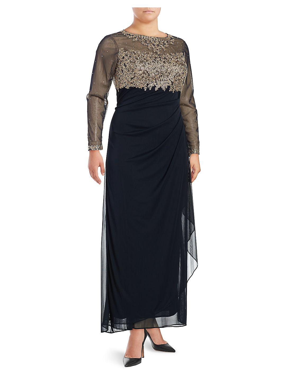 Plus Metallic Floral Floor-Length Gown