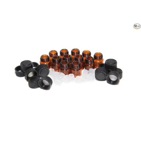Dram Glass (1 ml (1/4 dram) Amber Glass Vial with Orifice Reducer & Black Plastic Cap (12 Pack))