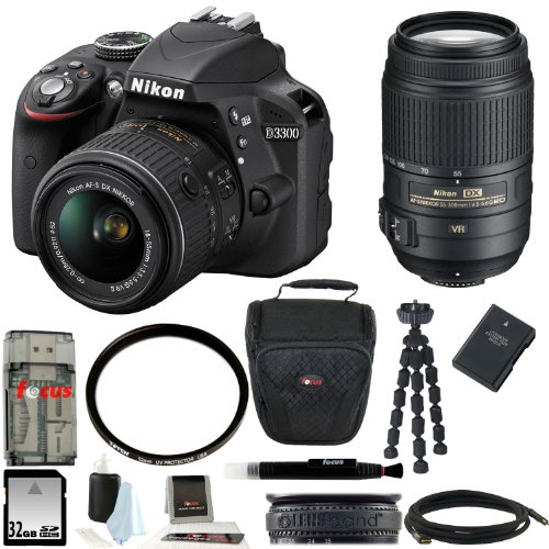 Nikon D3300 DSLR Camera with 18-55mm and 55-300mm Lens Bundle