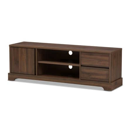 Baxton Studio Burnwood Modern and Contemporary Walnut Brown Finished Wood TV Stand