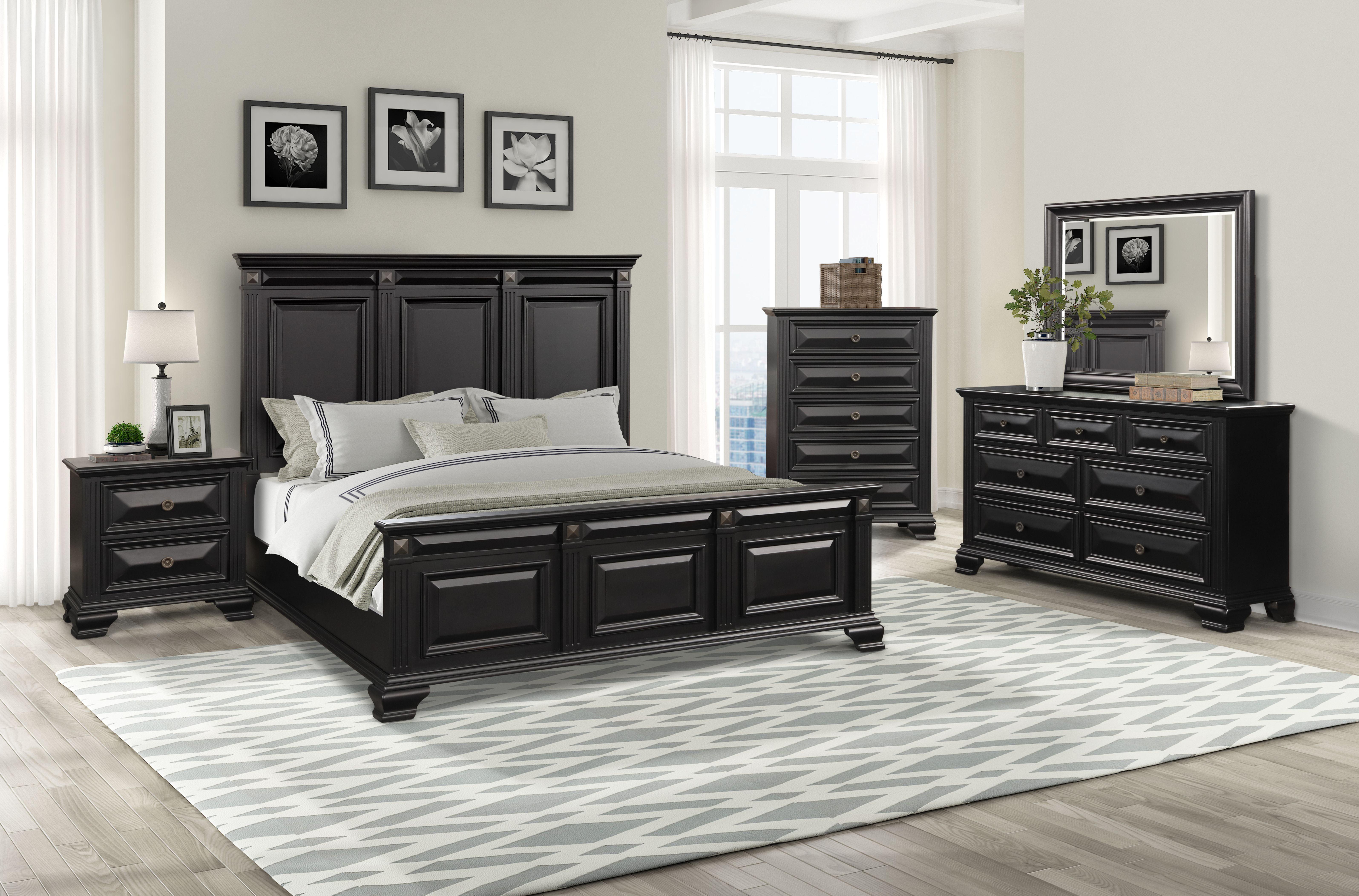 Renova Vintage Black Wood Bedroom Set, Queen Panel Bed ...