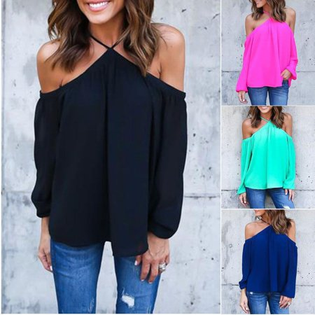 Women Halter Off-shoulder Long Sleeve Sexy Top Blouse T-shirt Summer Shirt Tops