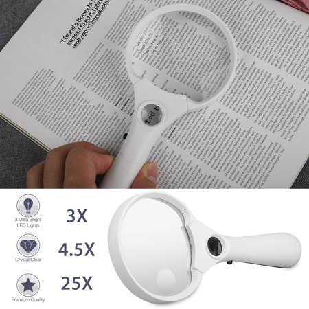 EEEkit Magnifying Glass [3X 4.5X 25X w/ 3 LED Lights] Handheld Magnifier for Reading - Best for Jeweler Watch Repair, Lightweight & Sturdy, Professional Optical Grade Magnifying