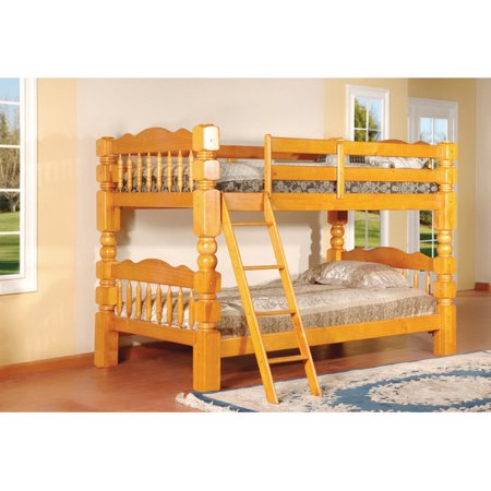 K & B Furniture Carved Spindle Twin Over Twin Bunk (Hunter Traditional Dark Cherry Wood Bunk Bed)