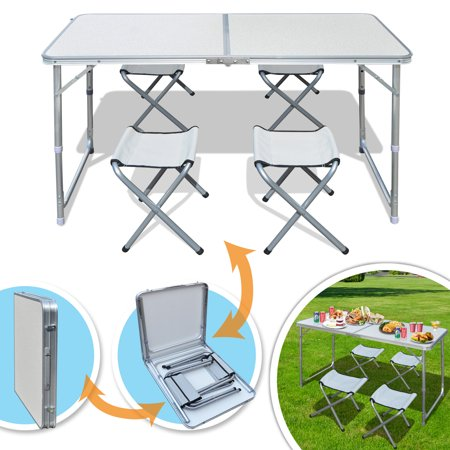 Sunrise Foldable, Adjustable Camping, Picnic Table, with 4 Chairs, for Outdoor or Indoor Use, White Color (Adjustable Chair Table)