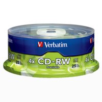 Verbatim CD-RW 700MB 2X-4X with Branded Surface, 25pk Spindle