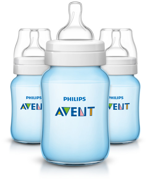 Philips Avent 9 oz Blue Edition Anti-Colic Wide-Neck Bottles 1m+, 3 count by Philips AVENT