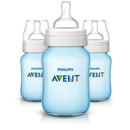 Philips 9 oz Blue Edition Anti-Colic Wide-Neck Bottles 1m+, 3 (Limited Edition Bottle)