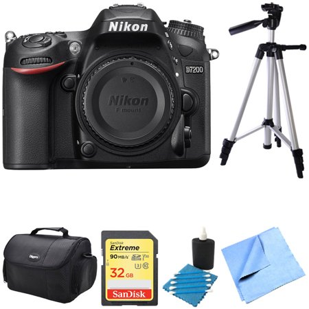 Nikon D7200 DX-Format 24.2MP Digital HD-SLR Body 32GB bundle includes camera body, lens cleaning kit, compact gadget bag, micro fiber cloth, SanDisk Extreme 32GB 90 Mb/s v30 and 57-inch tripod