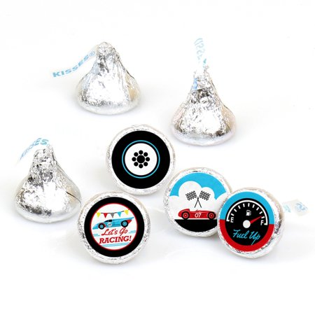 Let's Go Racing - Racecar - Baby Shower or Race Car Birthday Party Round Candy Sticker Favors - Hershey's Kiss-108 Ct