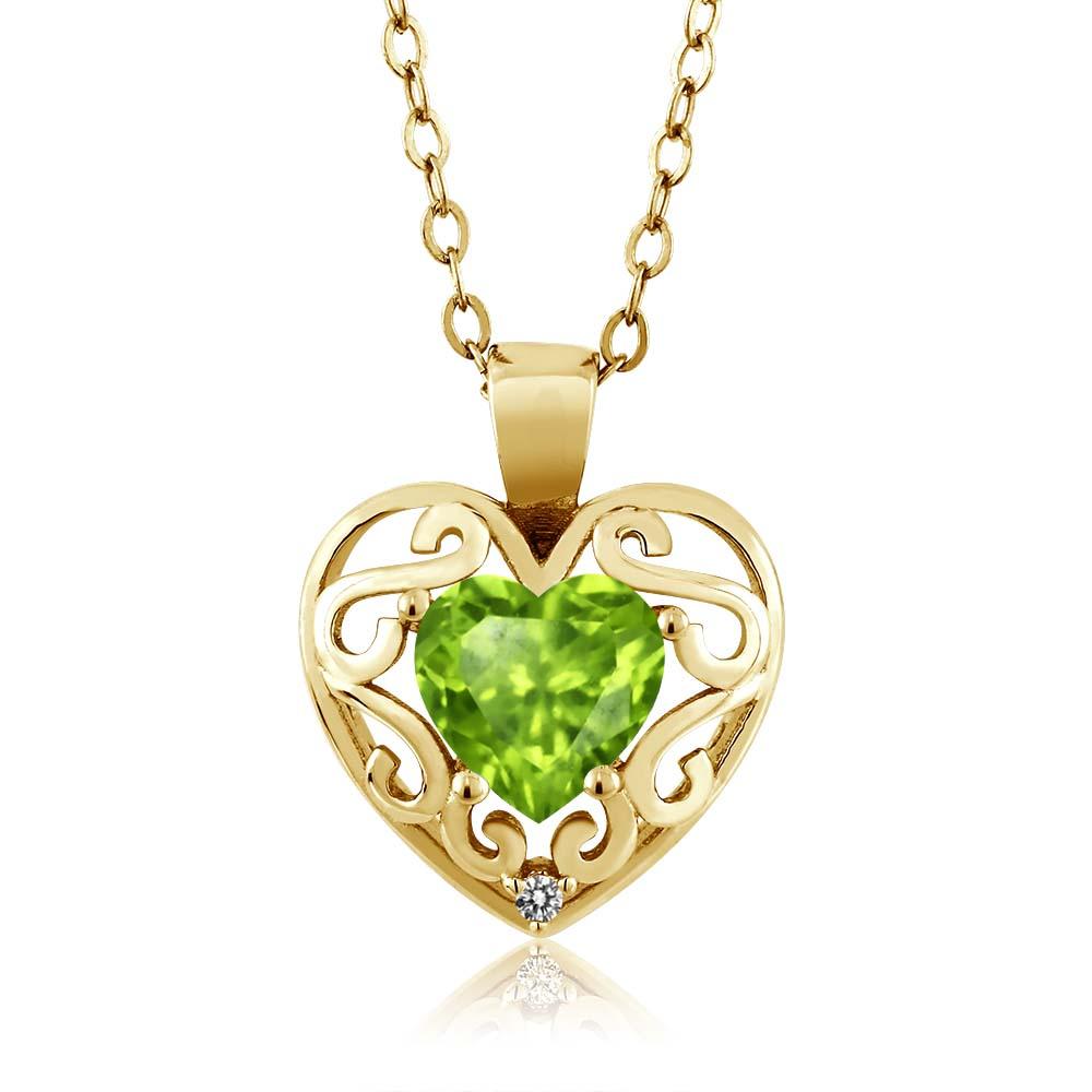 0.84 Ct Heart Shape Green Peridot Diamond Gold Plated Sterling Silver Pendant