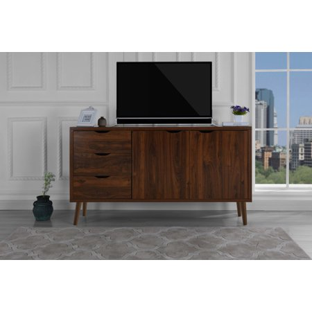 - Modern Wooden TV Stand with Drawers and Cabinet Doors, Brown