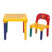 "Living Room Kids Table and Chairs Sets, Art Play-Room Activity Chair for Toddlers Lego, Reading, Train, Durable Plastic Kids Picnic Table & Chair Sets for 2-8, 17.7'' x 17.7'' x 16"", Yellow, S9209"