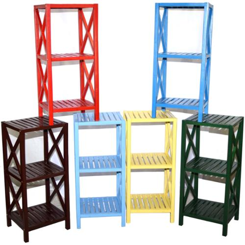 3-tier Bamboo Rack (Vietnam) white 3 tier shelf