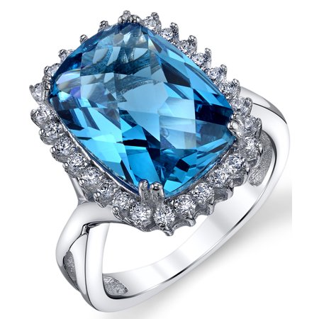 Swiss Blue Simulated Topaz Cushion Checkerboard Cut 6 Carat Cubic Zirconia Sterling Silver Halo Engagement Ring