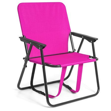 12in Height Seat Backpack Folding Chair Outdoor Beach Camping - Pink