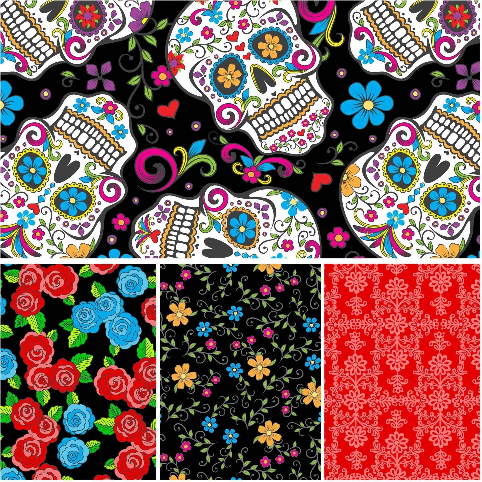 David Textiles Folkloric Skulls Collection 44  Cotton By The Yard