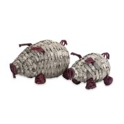 Set of 2 Penelope Recycled Woven Craft Repurposed Newsprint and Iron Pig Figures