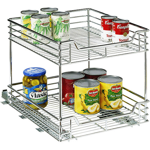 Household Essentials C21417-1 14.5 inch Two Tier Sliding Organizer-KD Chrome Single Pack
