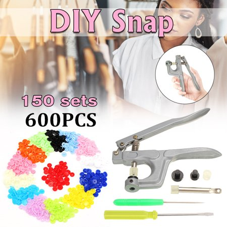 150 Sets Snap Fastener Pliers Tool Kit KAM T5 Buttons Plastic Resin Press Stud Fastener + Snap Pliers Buckle Clasp Clamp Srcew Driver Kit For DIY Cloth Diaper Fabric