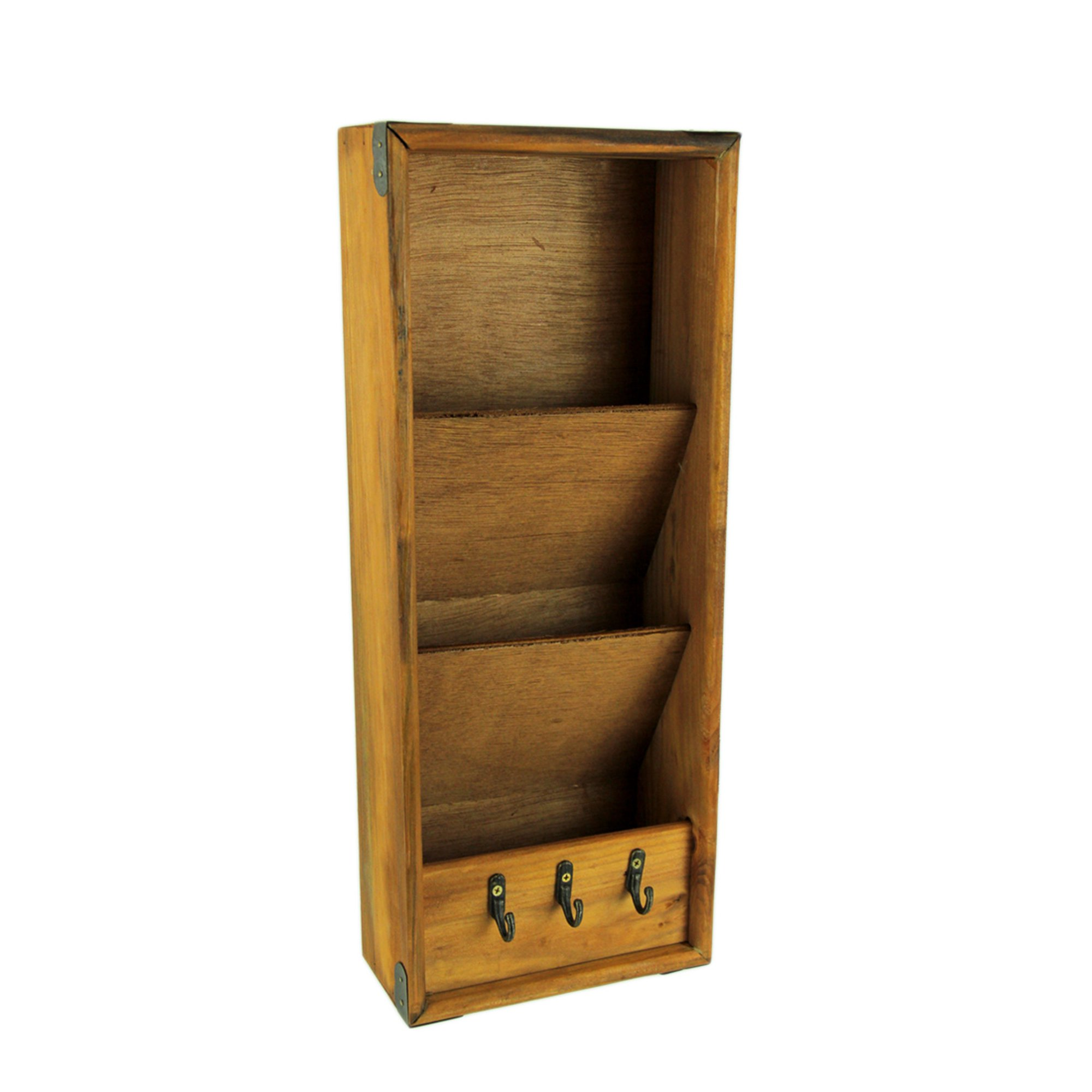 6bd804581e1e Rustic Wood 3 Pocket Hanging Mail Organizer with Key Rack