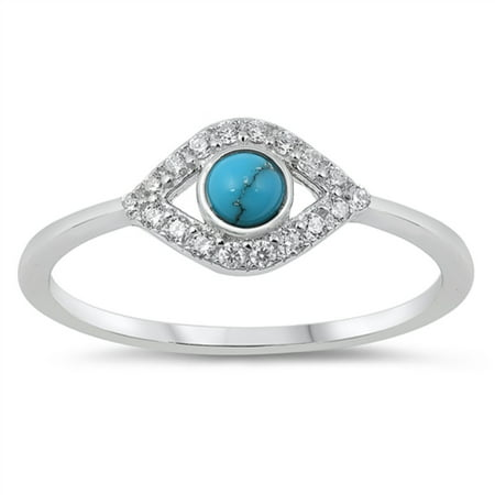 Simulated Turquoise Cubic Zirconia Evil Eye Ring Sterling Silver Size 8