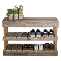 Del Hutson Reclaimed Wood Shoe Bench, Multiple Finishes
