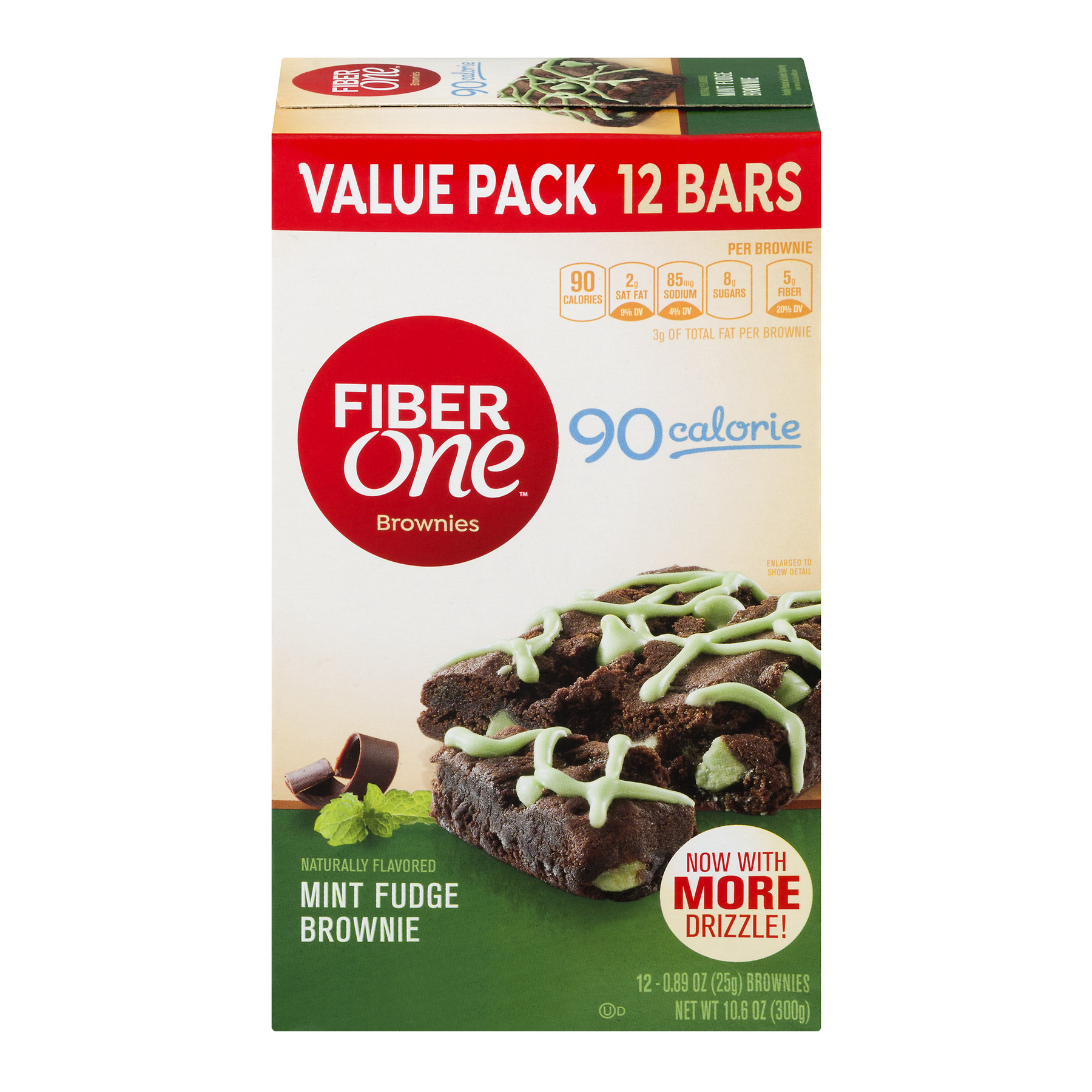 Fiber One 90 Calorie Mint Fudge Brownies 12 ct Box