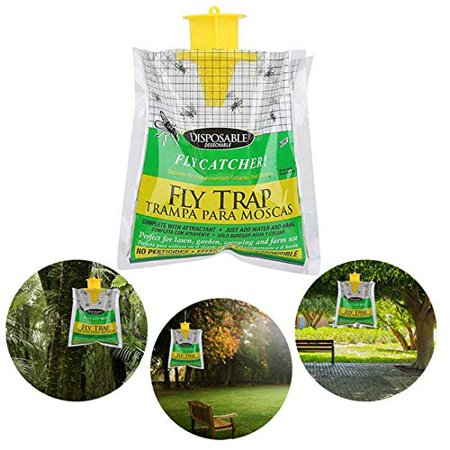 Fysho Fly Trap Bag 1 Pack Disposable Fly Catcher with Bait, No-Toxic Outdoor Hanging Bait Bag Perfect for Lawn, Garden, Camping and Farm