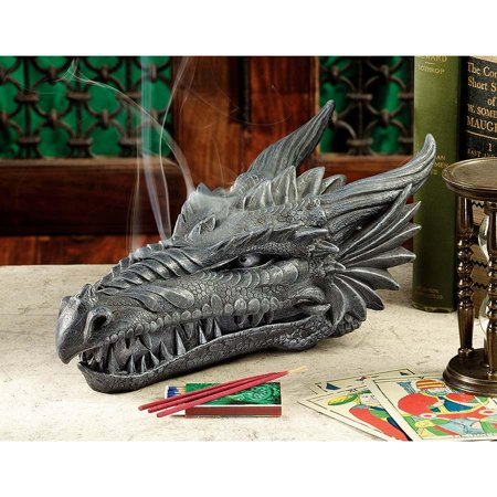Medieval Gothic Dragon Head Sculpture Incense Burner Holder with 3