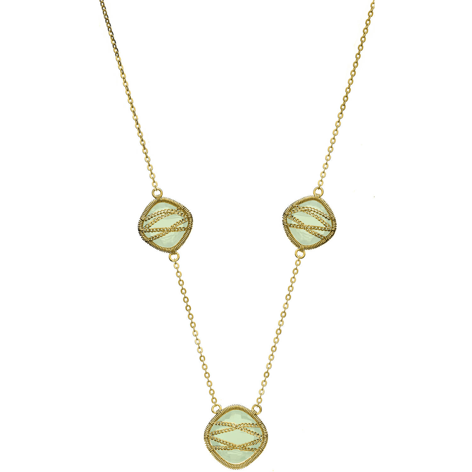 5th & Main 18kt Gold over Sterling Silver Hand-Wrapped Triple-Squared Chalcedony Stone Necklace by Generic
