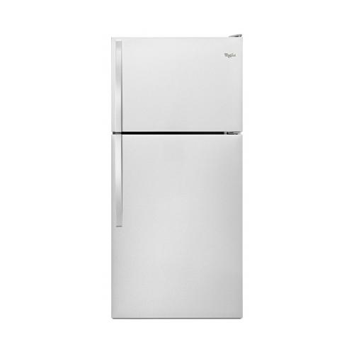 WHIRLPOOL 18 CU. FT. TOP-FREEZER REFRIGERATOR, STAINLESS STEEL, REVERSIBLE DOOR