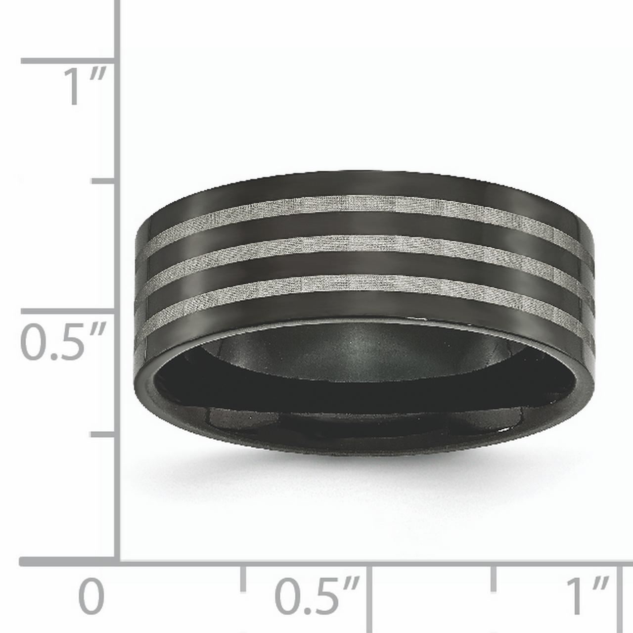 Titanium 8mm Black Plated Stripes Wedding Ring Band Size 12.50 Fashion Jewelry Gifts For Women For Her - image 1 of 6