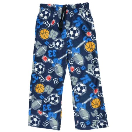 Jelli Fish Kids Boys Blue Sports Themed Fleece Sleep Pants Pajama Bottoms XS