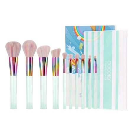 Pure Kabuki Brush - Docolor 10 PCS Professional New Midsummer Night Dream Makeup Brushes set Synthetic Kabuki Cosmetics Foundation Blending Eyeshadow Blush Eyeliner Face Powder Brush Makeup Brush Kit