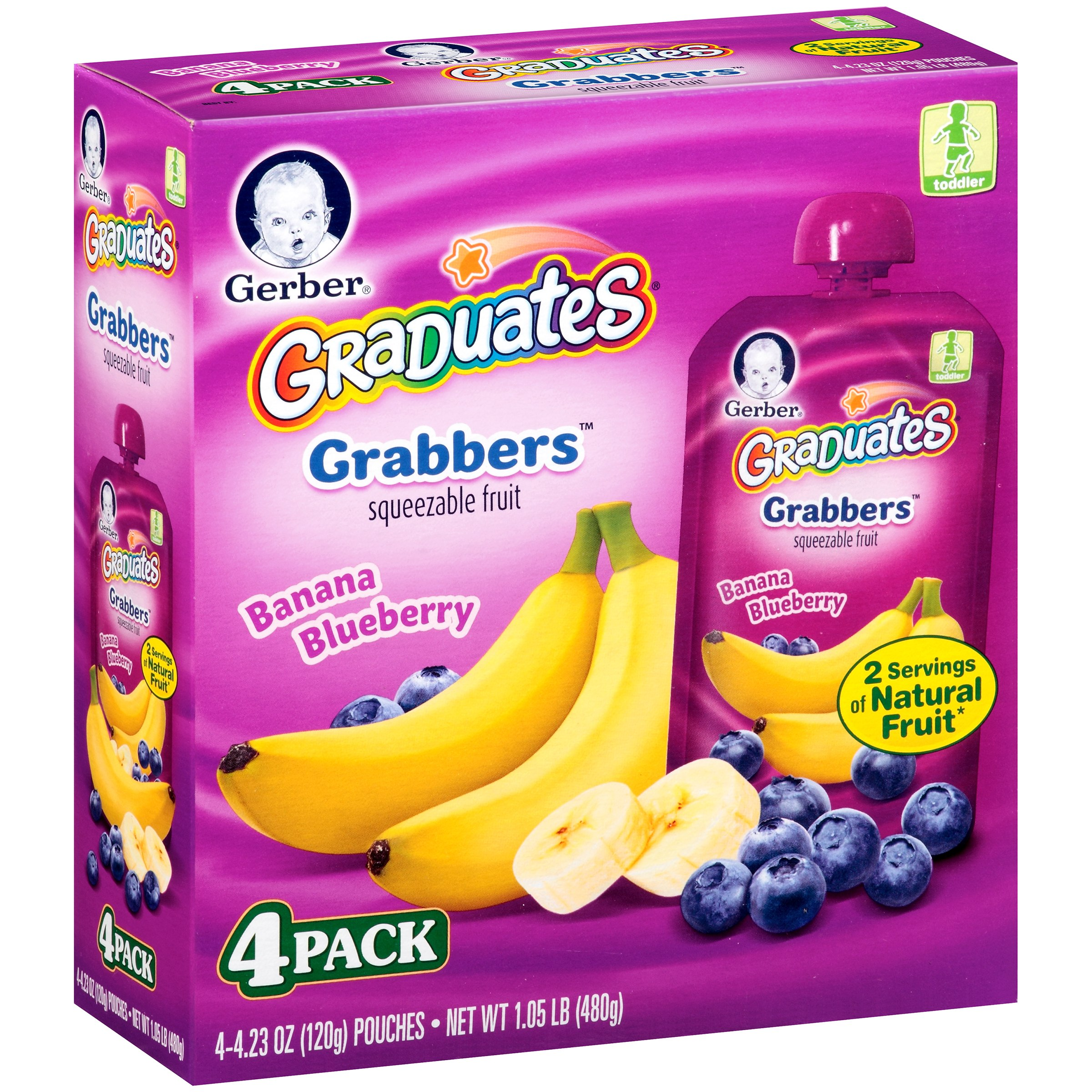 Gerber Grabbers Fruit Squeezable Puree, Banana Blueberry, 4.23 oz Pouch (Pack of 4)