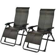 Gymax 2PCS Patio Rattan Zero Gravity Lounge Chair Folding Recliner Adjustable Headrest