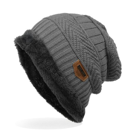 Knitted Cap - Thick Soft Warm Winter Hat - Mens Trendy Warm Oversized Chunky Soft Oversized Cable Knit Slouchy
