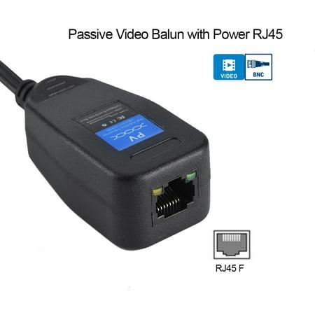 Naccgty 1 Pair Passive CCTV Coax BNC Video Power Balun Transceiver to RJ45 Connector , passive video balun, cctv balun ()