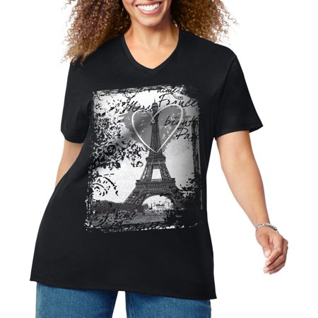 8b814eb3 Women's Plus-Size Graphic Short Sleeve V-neck Tee - Walmart.com