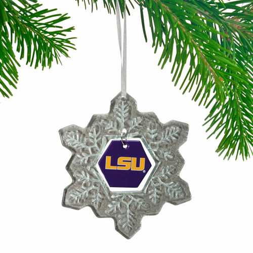LSU Tigers Glass Snowflake Ornament