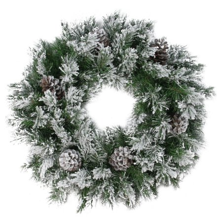 Northlight 24 in. Flocked Angel Pine with Pine Cones Artificial Christmas Wreath